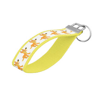Cute Cartoon Dingo Grosgrain Keychain