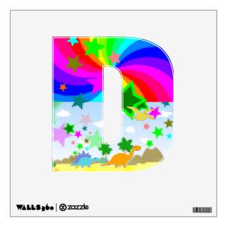 Cute Cartoon Dinos Pixel Land Letter D Alphabet Wall Graphics