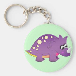Cute Cartoon Dinosaur Basic Round Button Keychain
