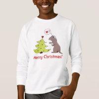 Cute Cartoon Dinosaur Christmas Kids Long Sleeve T-Shirt
