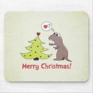 Cute Cartoon Dinosaur Christmas Mouse Pad