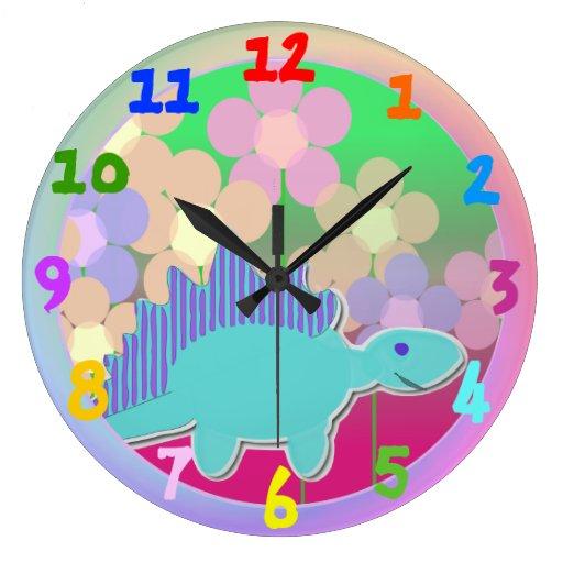 Cute Cartoon Dinosaur Flower Clock