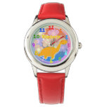 Cute Cartoon Dinosaur Flowers with custom Name Wristwatches