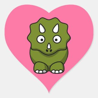 Cute Cartoon Dinosaur Heart Sticker