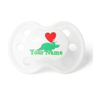 Cute Cartoon Dinosaur Hearts customizable name Baby Pacifiers