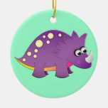 Cute Cartoon Dinosaur Double-Sided Ceramic Round Christmas Ornament