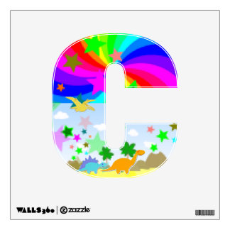 Cute Cartoon Dinosaur Pixel Land Letter C Alphabet Wall Stickers