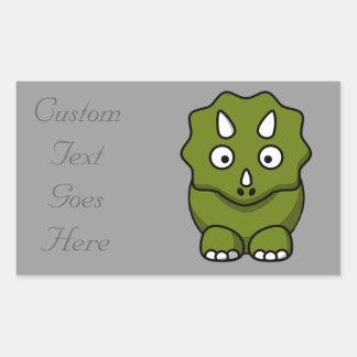 Cute Cartoon Dinosaur Rectangular Sticker