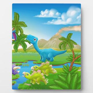 Cute Cartoon Dinosaur Scene Landscape Plaque