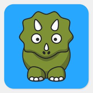 Cute Cartoon Dinosaur Square Sticker