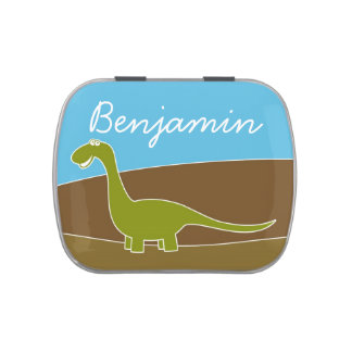 Cute Cartoon Dinosaur with Custom Name Jelly Belly Candy Tins