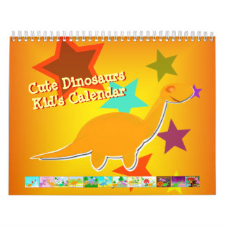 Cute Cartoon Dinosaurs Calendar for Kids