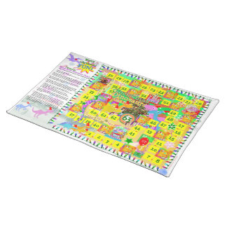 Cute Cartoon Dinosaurs Christmas Board Game Cloth Placemat