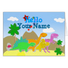Cute Cartoon Dinosaurs Hello Card