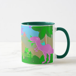 Cute Cartoon Dinosaurs in Jungle Mug