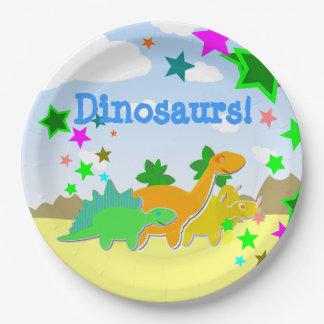 Cute Cartoon Dinosaurs Kawaii 9 Inch Paper Plate