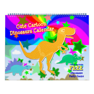 Cute Cartoon Dinosaurs Kids Calendar