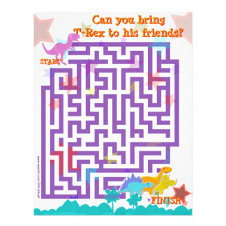 Cute Cartoon Dinosaurs Labyrinth Puzzle Game Page