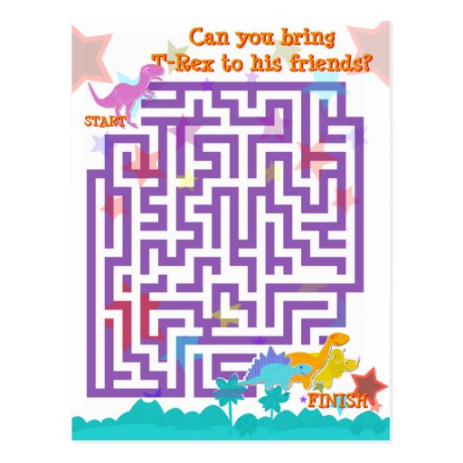 Cute Cartoon Dinosaurs Labyrinth Puzzle Game Post Card