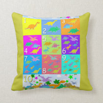 Cute Cartoon Dinosaurs Numbers 1 - 10 Counting Throw Pillow
