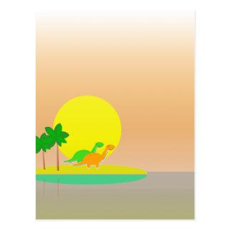 Cute Cartoon Dinosaurs Tropical Sunset Island Post Card