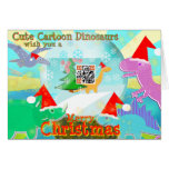 Cute Cartoon Dinosaurs wish You a Merry Christmas Greeting Card