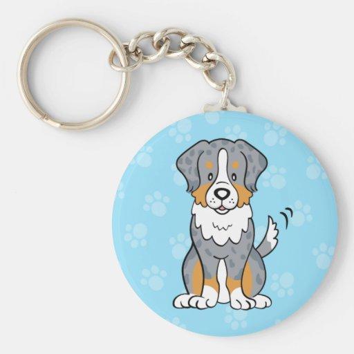 Cute Cartoon Dog Australian Shepherd Keychain