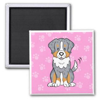 Cute Cartoon Dog Australian Shepherd Square Magnet