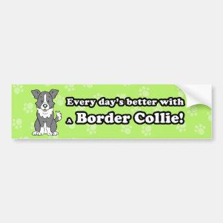 Cute Cartoon Dog Border Collie Bumper Sticker