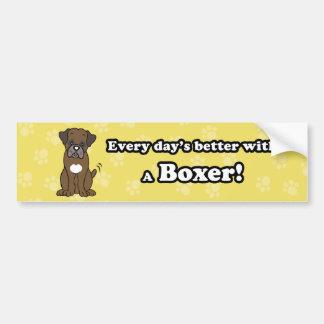 Cute Cartoon Dog Boxer Bumper Sticker Car Bumper Sticker