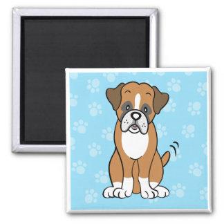 Cute Cartoon Dog Boxer Square Magnet