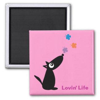 Cute cartoon dog & butterflies Lovin' Life magnet