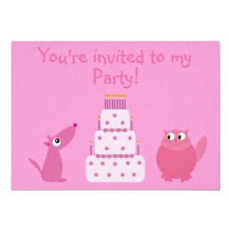 Cute Cartoon Dog, Cat & Birthday Cake Pink Party Custom Invitation
