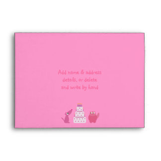 Cute Cartoon Dog, Cat & Cake Custom Pink Party Envelope