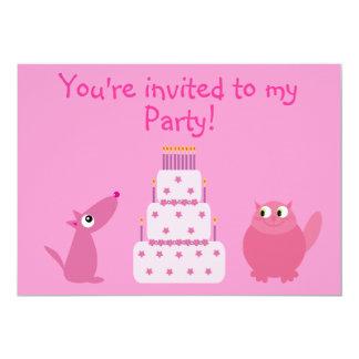 Cute Cartoon Dog, Cat & Cake Custom Pink Party 5x7 Paper Invitation Card