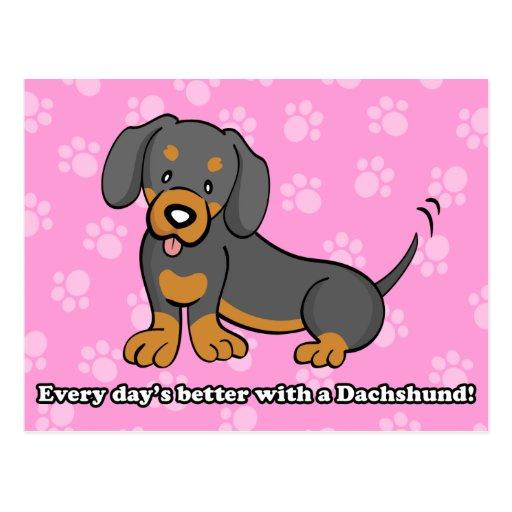 Cute Cartoon Dog Dachshund Postcard