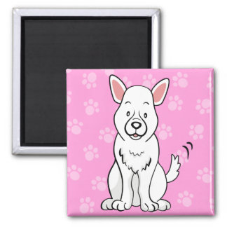 Cute Cartoon Dog German Shepherd Square Magnet