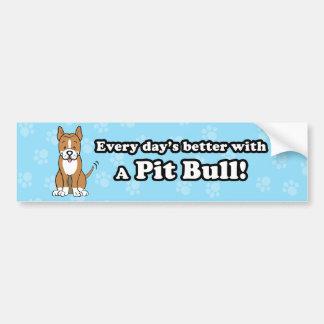 Cute Cartoon Dog Pitbull Bumper Sticker