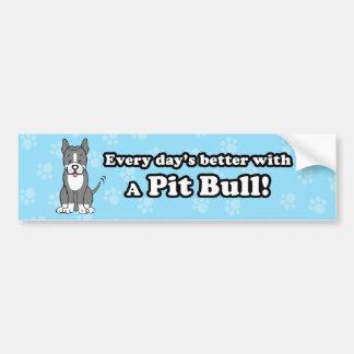Cute Cartoon Dog Pitbull Bumper Sticker Car Bumper Sticker