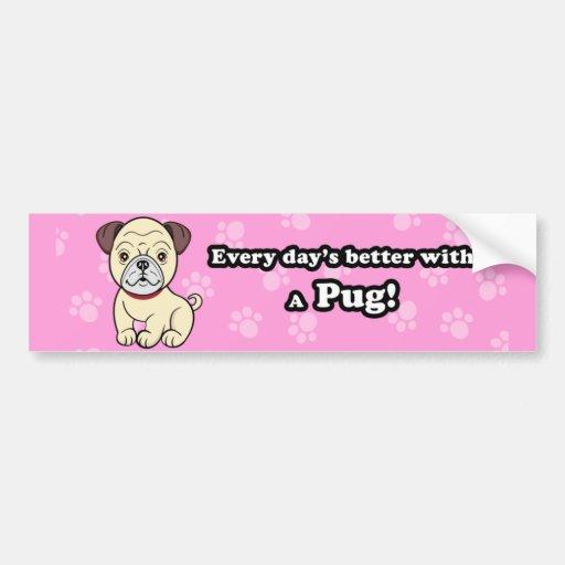 Cute Cartoon Dog Pug Bumper Sticker
