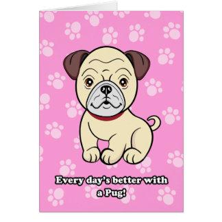 Cute Cartoon Dog Pug Greeting Card