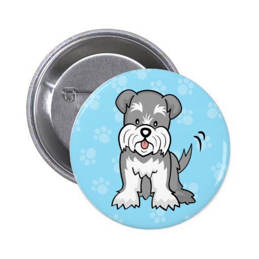 Cute Cartoon Dog Schnauzer Button
