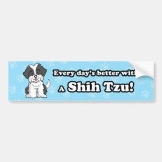 Cute Cartoon Dog Shih Tzu Bumper Sticker Car Bumper Sticker