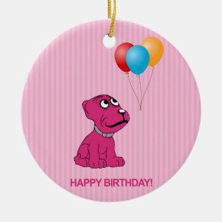 Cute Cartoon Dog with Balloons Happy Birthday Ceramic Ornament