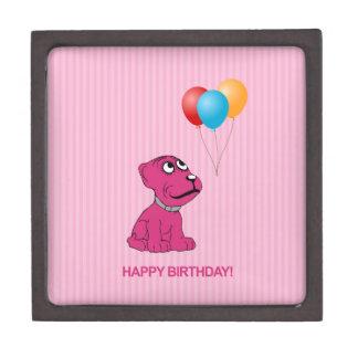 Cute Cartoon Dog with Balloons Happy Birthday Jewelry Box