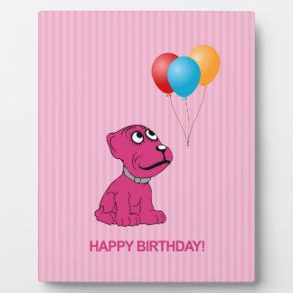 Cute Cartoon Dog with Balloons Happy Birthday Plaque