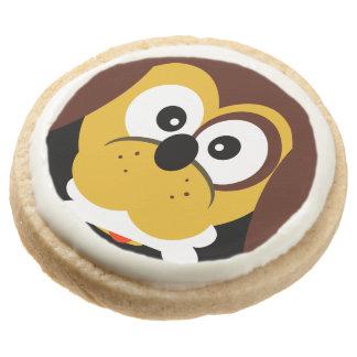 Cute Cartoon Dog With Bone Kids  Party Treats Round Shortbread Cookie
