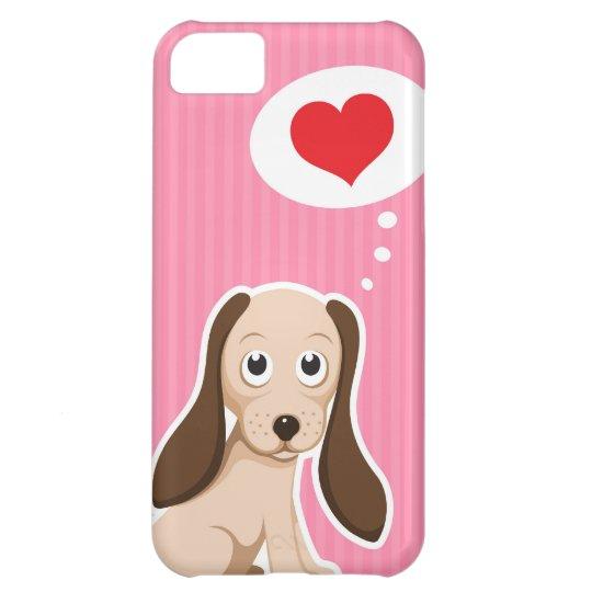 Cute cartoon dog with heart girly iPhone 5 case
