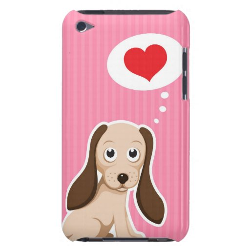 Cute cartoon dog with heart girly iPod touch case