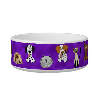 Cute Cartoon Dogs and Cats Purple Pet Bowl Cat Water Bowl